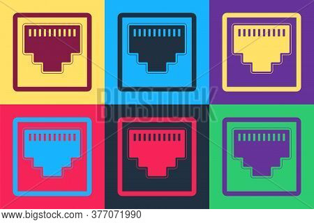Pop Art Network Port - Cable Socket Icon Isolated On Color Background. Lan Port Icon. Ethernet Simpl
