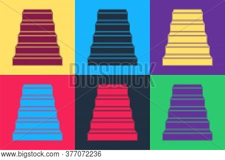 Pop Art Staircase Icon Isolated On Color Background. Vector