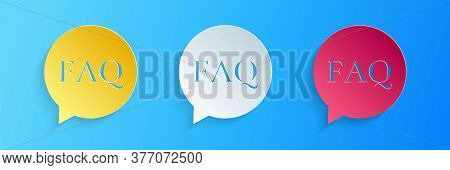 Paper Cut Speech Bubble With Text Faq Information Icon Isolated On Blue Background. Circle Button Wi