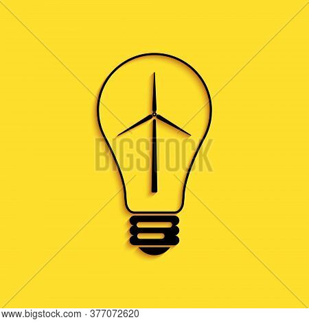 Black Light Bulb With Wind Turbine As Idea Of Eco Friendly Source Of Energy Icon Isolated On Yellow