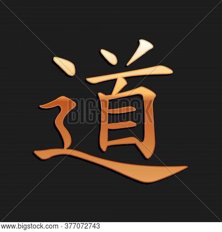 Gold Chinese Calligraphy, Translation Dao, Tao, Taoism Icon Isolated On Black Background. Long Shado