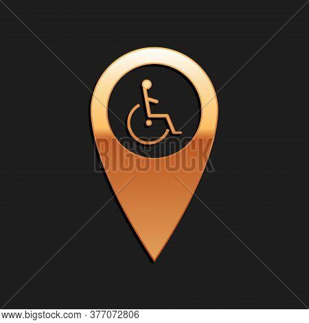 Gold Disabled Handicap In Map Pointer Icon Isolated On Black Background. Invalid Symbol. Wheelchair