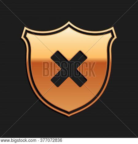 Gold Shield And Cross X Mark Icon Isolated On Black Background. Denied Disapproved Sign. Protection,