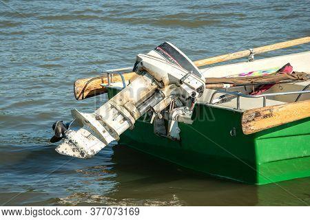 Motor Engine Outboard Propeller Equipment For Motorboat. Power, Transportation Speed Boating Part On