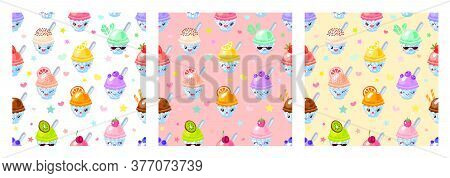 Seamless Pattern Cute Fruit Ice Cream Sorbet Characters. Child Style, Strawberry, Raspberry, Waterme