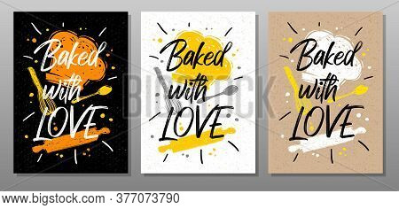 Baked With Love, Quote Food Poster. Cooking, Culinary, Kitchen, Print, Utensils, Apron, Fork, Knife,