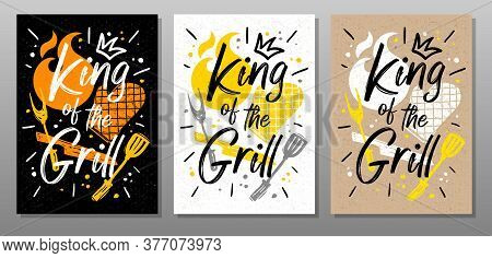 King Grill, Quote Food Poster. Cooking, Culinary, Kitchen, Bbq, Barbecue, Axe, Fork, Knife, Master C