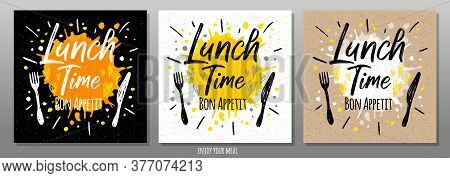 Lunch Time Bon Appetit, Enjoy Your Meal, Quote, Phrase, Food Poster, Splash, Fork, Knife. Lettering,