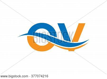 Water Wave Ov Initial Letter Logo Design For Corporate Business Identity. Vector Logotype For Busine