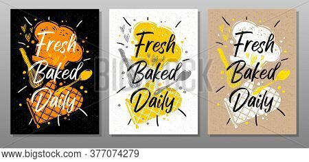 Fresh Baked Daily Quote Phrase Food Poster. Cooking, Culinary, Kitchen, Print, Utensils, Cutting Boa