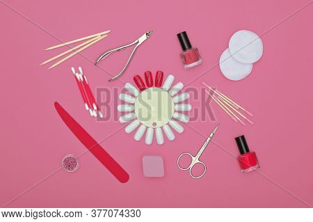 Close Up Feminine Hygiene, Beauty, Nail Care And Manicure Set On Pink Background, Elevated Top View,