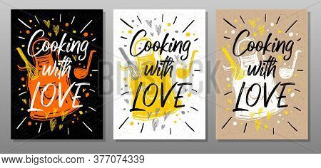 Cooking With Love, Quote Phrase Food Poster. Cooking, Culinary, Kitchen, Print, Utensils, Cutting Bo