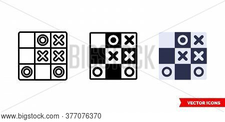 Tactics Or Tic Tac Toe Icon Of 3 Types. Isolated Vector Sign Symbol.
