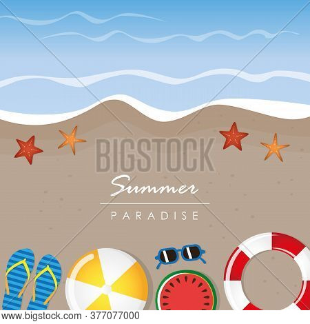 Different Beach Utensils Summer Holiday Background With Flip Flops Sunglasses Bikini And Starfish Ve