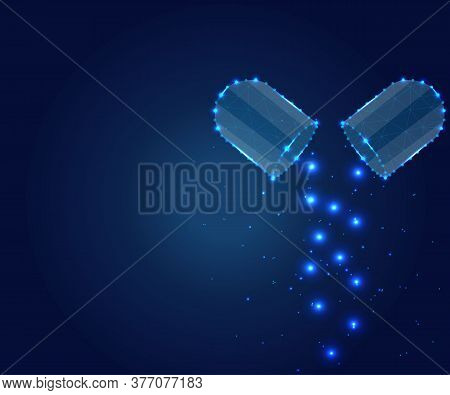Pharmaceutical Background With Medicinal Capsules, Pills. Medical, Pharmacy, Antibiotic, Health, Vit