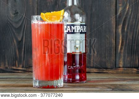 Sumy, Ukraine - Jul 17, 2020: Garibaldi Cocktail Made Of Orange Juice And Campari Which Is An Italia