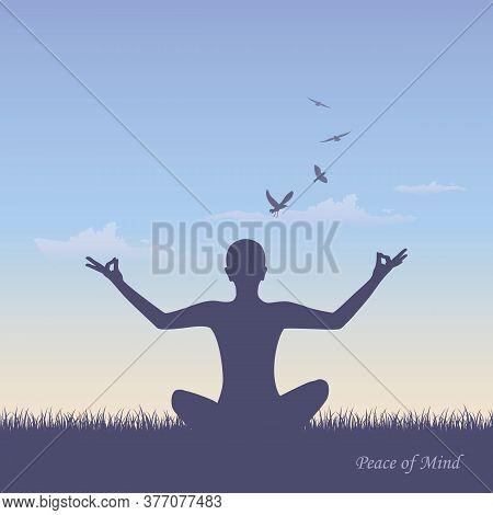 Meditating Person On Summer Meadow At Sunshine Vector Illustration Eps10