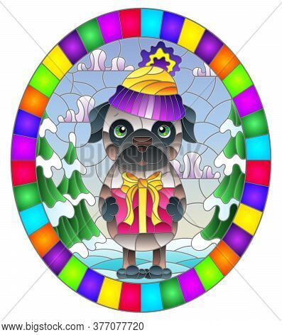 Illustration In Stained Glass Style On The Theme Of Winter Holidays, Cute Cartoon Pug Dog On The Bac
