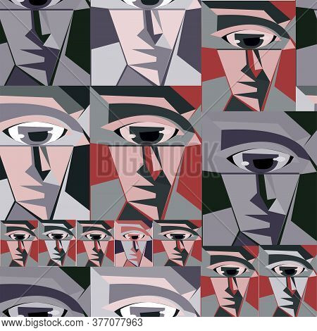 Pattern Portrait In The Style Of Minimalism, Cubism