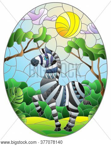 Illustration In Stained Glass Style With Cute Zebra On The Background Of Green Trees Of Cloudy Sky A
