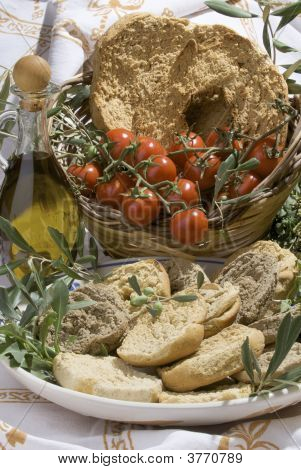 Two-Baked South Italian Traditional Bread Called \