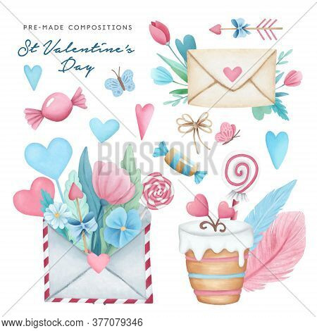 Hand Drawn Valentine's Day Festive Pre-made Compositions Set. Watercolor Flowers, Hearts, Candies Il