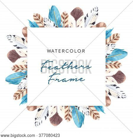 Hand Drawn Watercolor Vibrant Feathers Square Frame. Boho Style Feathers On White Background. Feathe