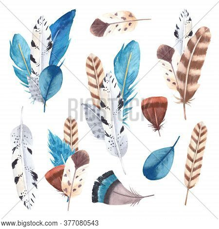 Hand Drawn Watercolor Vibrant Feathers Collection. Boho Style Feathers On White Background. Feathers