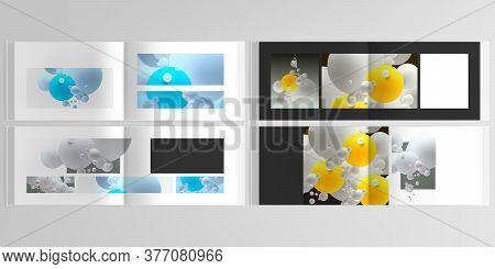 Vector Layouts Of Horizontal Presentation Design Templates For Landscape Design Brochure, Cover Desi