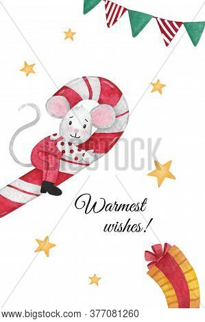 Christmas Illustration With Mouse Sitting On A Candy Cane With Flags, Gift And Stars. Hand-drawn Wat