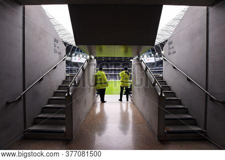 London, England - February 2, 2020: Desolating View Of An Empty Tottenham Hotspur Stadium Seen Prior