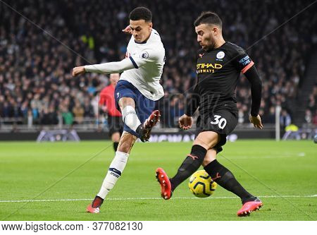 London, England - February 2, 2020: Dele Alli Of Tottenham And Nicolas Otamendi Of City Pictured Dur