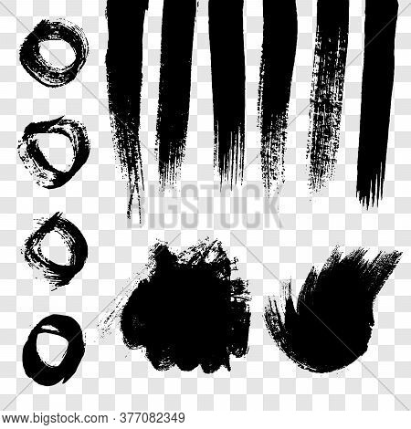Black Grunge Brush Strokes. Set Of Painted Wavy Ink Stripes And Stains. Ink Spot Isolated On Transpa