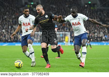 London, England - February 2, 2020: Japhet Tanganga Of Tottenham, Kyle Walker Of City And Davinson S
