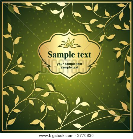 Vector illustration of foliage background and gold frame poster
