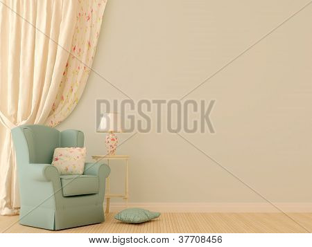 Blue Chair By The Curtains