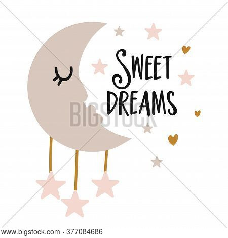Sweet Dreams - Cute Moon Decoration. Little Moon With Closed Eyes And Stars, Posters For Nursery Roo