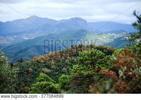 Landscape View And The Mountains In Liguria Region, Italy (near Sestri Levante)