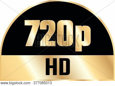 Gold 720P Hd Label Isolated On White Background.