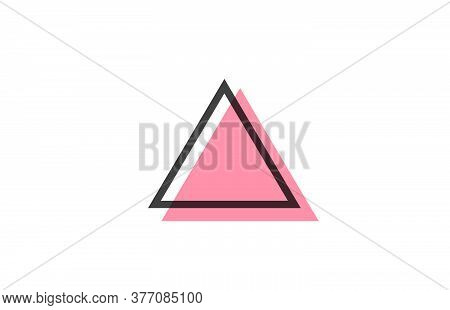 Geometric A Pink Black Line Alphabet Letter Logo Icon For Company. Simple Line Design For Business A