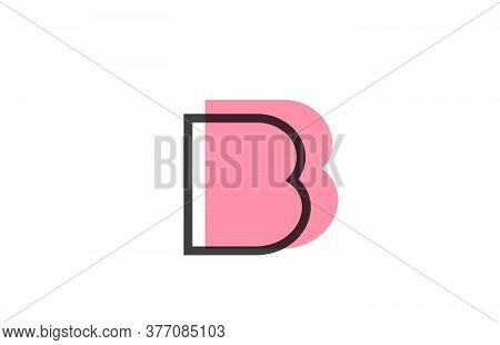 Geometric B Pink Black Line Alphabet Letter Logo Icon For Company. Simple Line Design For Business A