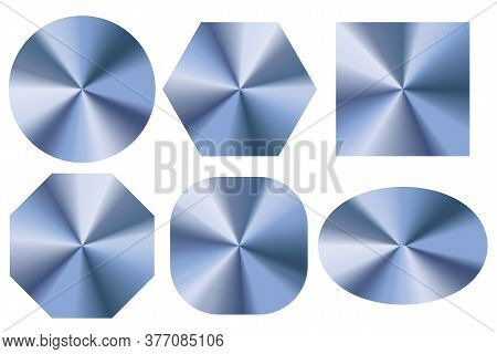 Metal Round Holograms. Blank Blue Realistic Holograms. Different Shapes Of Blank Buttons. Vector Ima