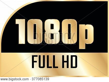 Gold 1080P Full Hd Label Isolated On White Background.