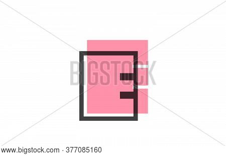 Geometric E Pink Black Line Alphabet Letter Logo Icon For Company. Simple Line Design For Business A
