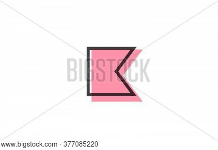 Geometric K Pink Black Line Alphabet Letter Logo Icon For Company. Simple Line Design For Business A