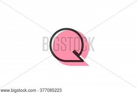 Geometric Q Pink Black Line Alphabet Letter Logo Icon For Company. Simple Line Design For Business A