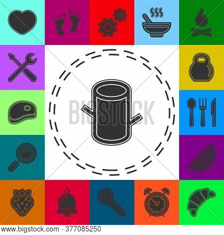 Vector Wood Trunk Illustration, Cut Tree Stump - Wooden Forest Icon Isolated. Flat Pictogram - Simpl