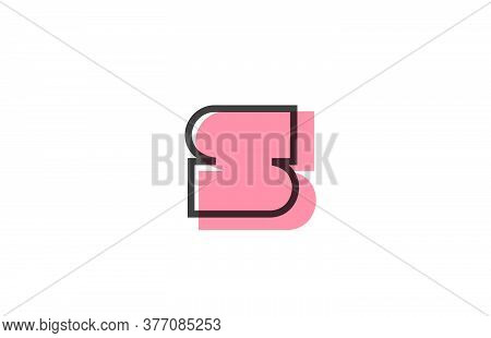Geometric S Pink Black Line Alphabet Letter Logo Icon For Company. Simple Line Design For Business A