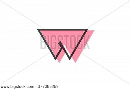 Geometric W Pink Black Line Alphabet Letter Logo Icon For Company. Simple Line Design For Business A
