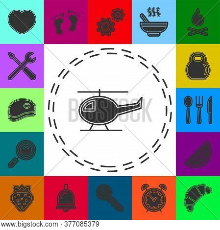Helicopter Icon, Vector Copter, Helicopter Airline Transportation. Flat Pictogram - Simple Icon